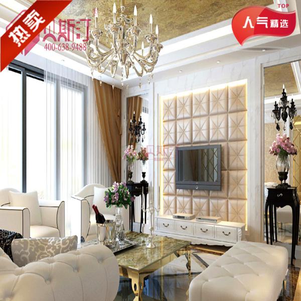 皮雕客厅装修背景墙|星级酒店收银台背景墙|皮雕软包吊顶材料图片