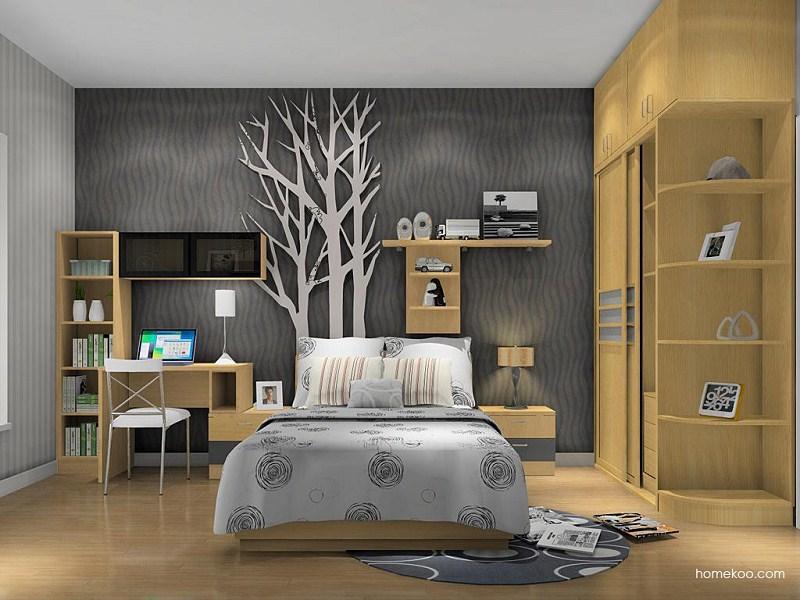 供应金益之家实木组合卧室家具 床 衣柜 摆放架 书桌全套定制