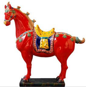 交趾陶瓷红马摆件