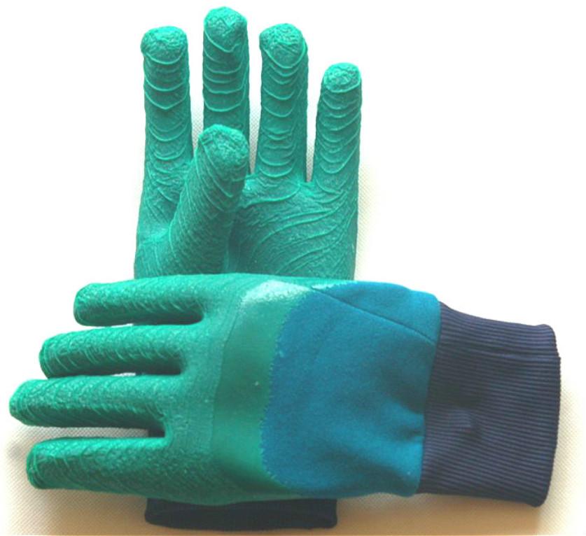 半挂胶手套3L2型质高价低结实耐用适应建筑石材机械制造作业手套-中国青岛集芳制造