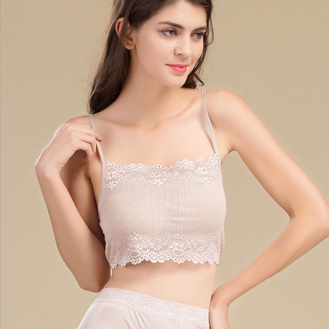 新款真丝针织蕾丝花边可调节吊带抹胸 性感舒适打底内衣 工厂直销 抹胸文胸