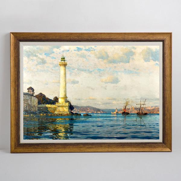 客厅装饰画 灯塔原版油画名画卧室壁画走廊过道墙画挂图片