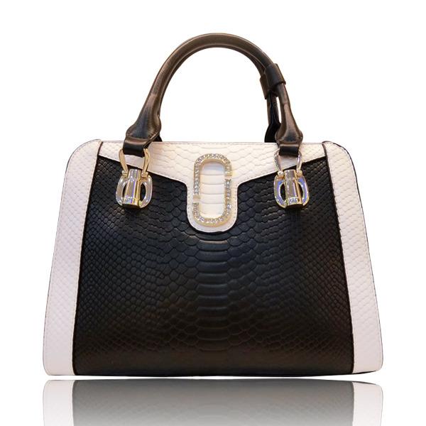 2017新款真皮女包新款时尚箱包手提包斜挎包黑白拼接