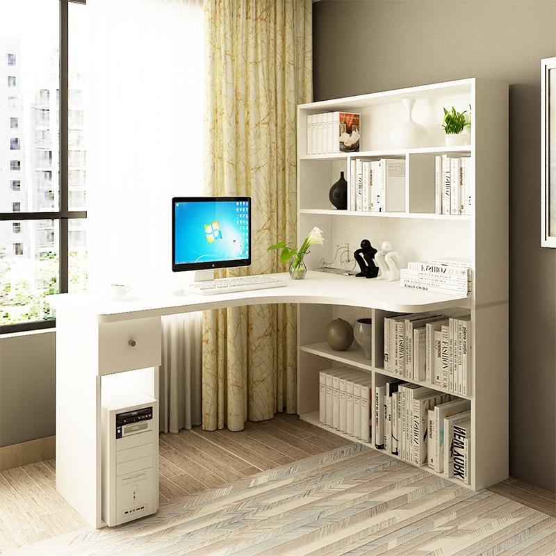 家用简约转角台式电脑桌 组合书桌书柜书架 台式家用桌子图片