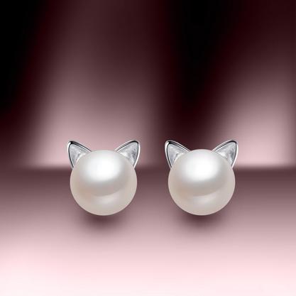 珍珠批发 S925银镶 散卖天然珍珠耳钉猫咪BYE367