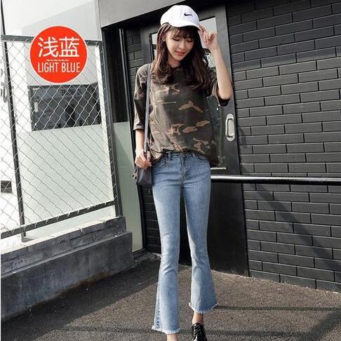 时尚新款爆款厂价直销修身显瘦毛边喇叭牛仔裤