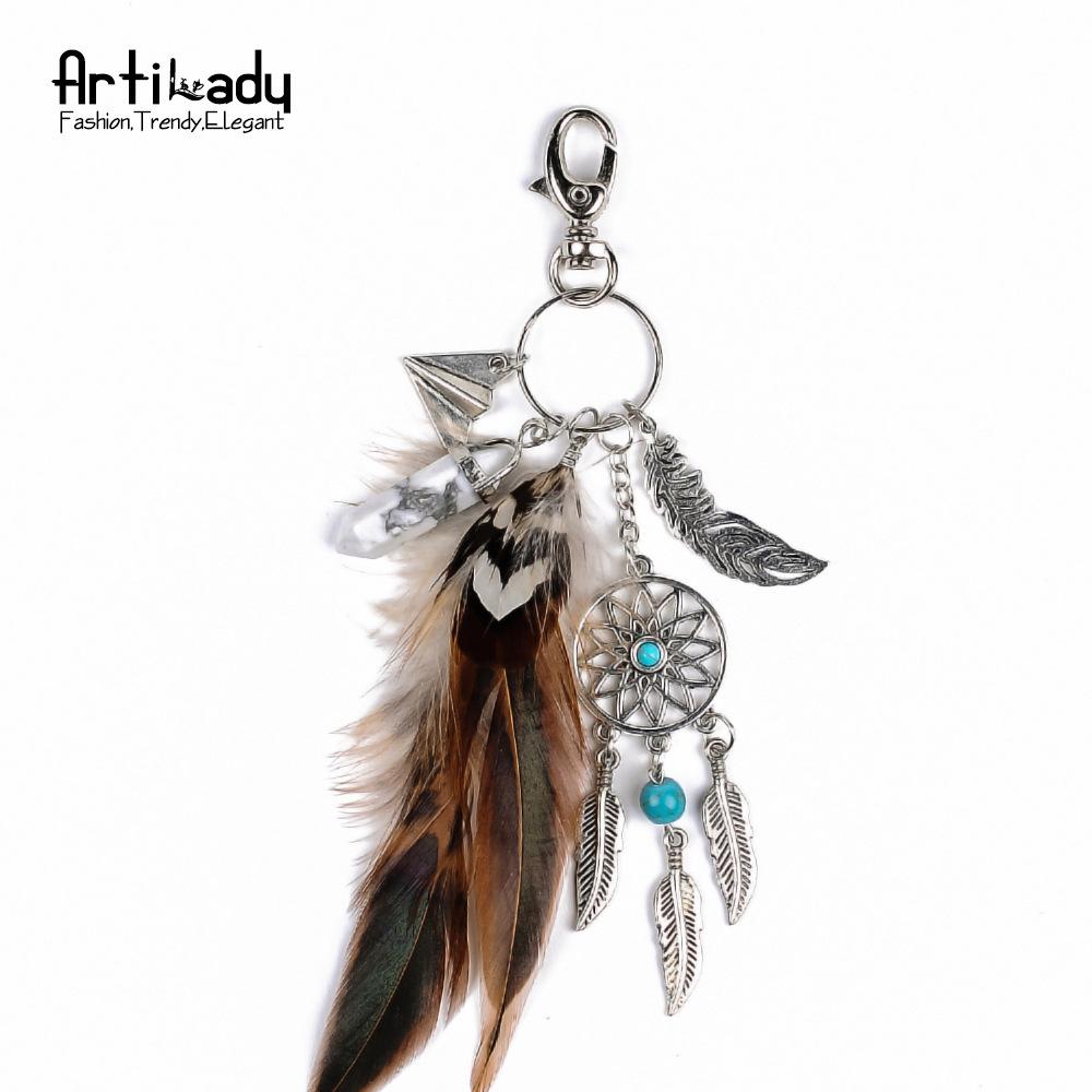 北海珍珠批发  欧美饰品 天然水晶玛瑙 羽毛合金捕梦网钥匙扣 女士钥匙扣配件