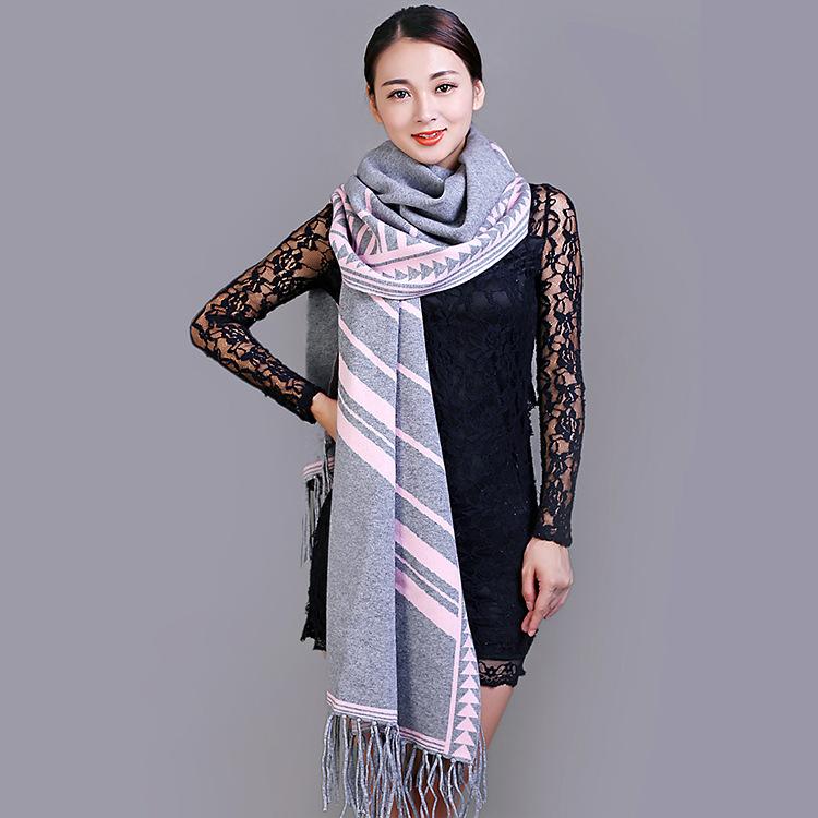 条纹加长羊绒围巾 欧美时尚保暖披肩厂家批发