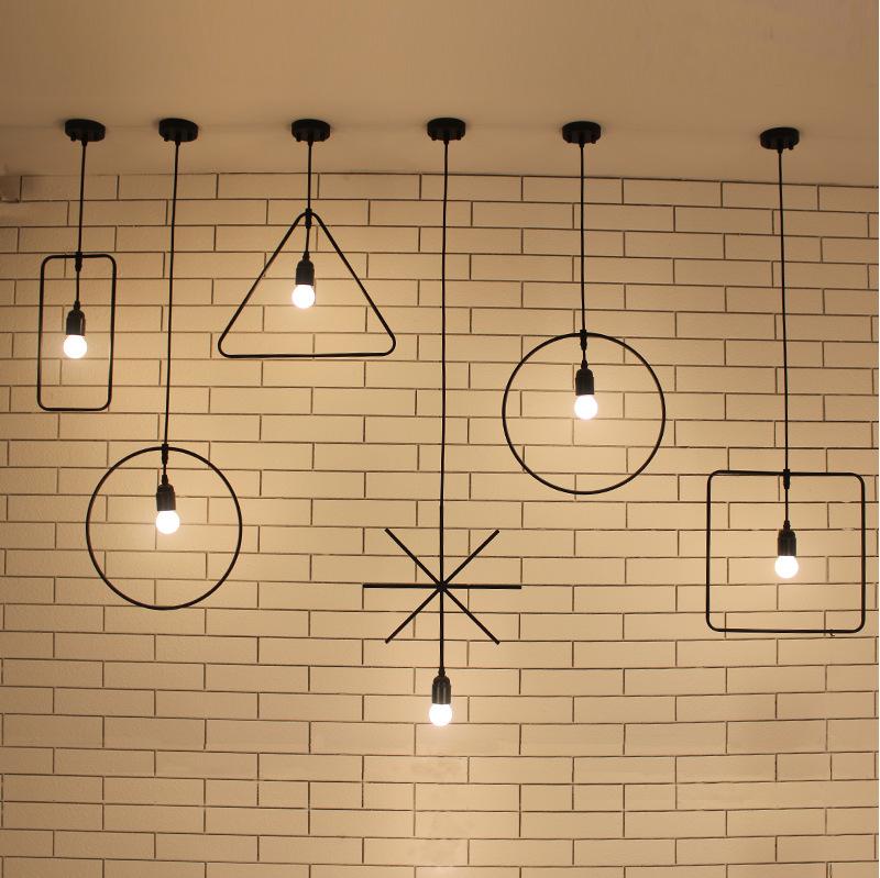 北欧简约灯具服装店吧台阳台灯 创意个性复古工业铁艺吊灯3头6头