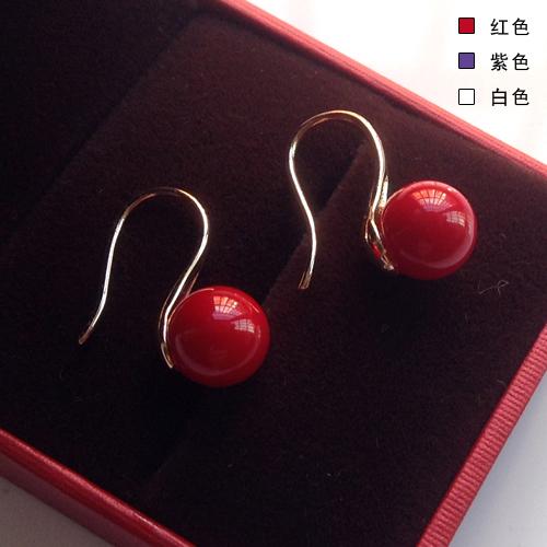 北海珍珠批發  韓版甜美氣質掛鉤珍珠耳環韓國長款紅色耳釘時尚耳墜耳飾