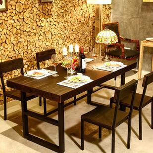 供应 实木铁艺餐桌餐厅休闲吧餐桌椅组合定制