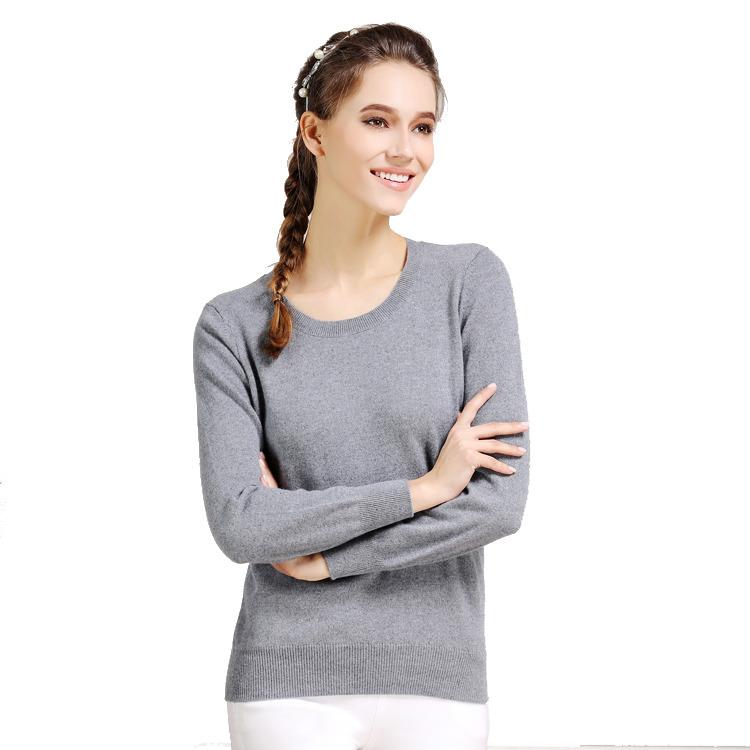 女士纯色浅灰色羊绒衫