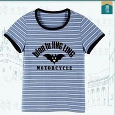 016夏季新款纯棉儿童卡通植绒印花圆领短袖T恤衫 简约时尚