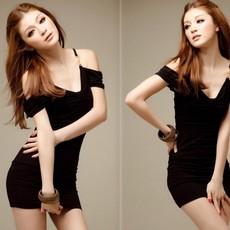 供应 韩版女装V领吊带露肩包臀修身连衣裙
