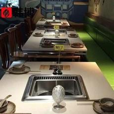 韩博自助无烟火锅设备/大理石火锅桌/韩式不锈钢火锅