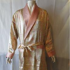 丝绸睡衣  真丝睡衣 顺成纺织丝绸睡衣 橙黄色印花睡袍睡衣