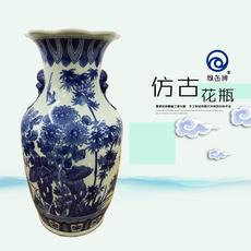 雅缶牌陶瓷 大埔厂家直销 手绘青花14寸狮环瓶(142604)