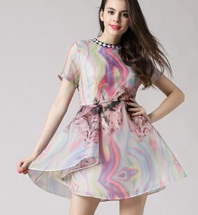 2015新款街头风时尚印花气质优雅欧根纱连衣裙夏 圆领套头短裙女