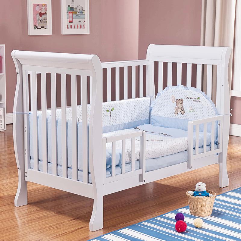 同兴实木儿童床带护栏小床单人床小孩床加宽床拼接床