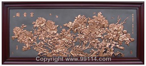 批量供应紫铜浮雕系列富贵图A