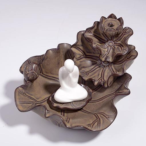供应陶瓷香炉摆件倒流香炉陶瓷创意紫砂小和尚禅悟仿古倒流香香炉