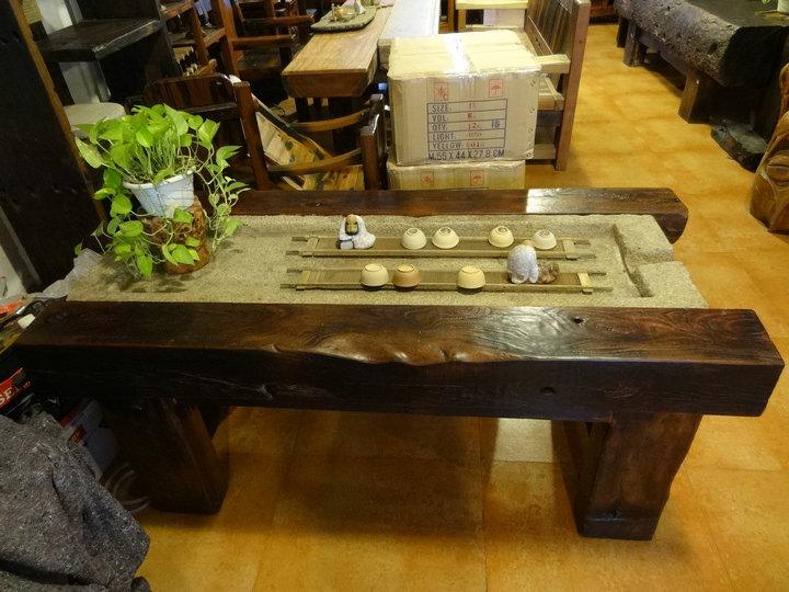 爆款老船木茶桌茶几餐桌办公桌案台长凳沙发大吧台收银台摆件墙背景博古架