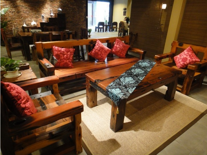 老船木鞋柜茶几餐桌办公桌椅子长凳沙发大吧台收银台摆件墙背景博古架