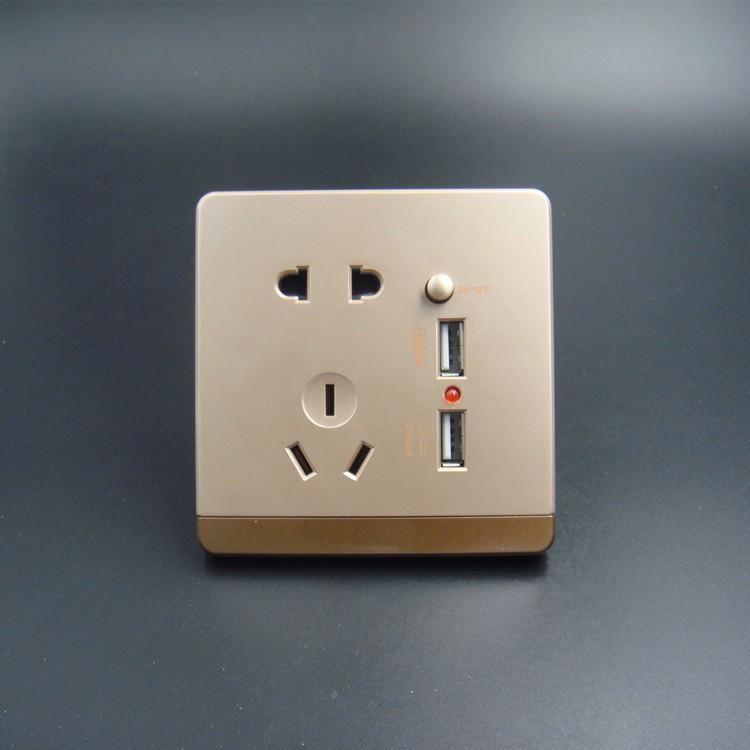 厂家直销 F5大板土豪金五孔二位USB 86型插座 墙壁面板 详情咨询