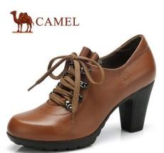 供应正品真皮休闲鞋女单鞋 圆头高跟鞋粗跟潮女士皮鞋