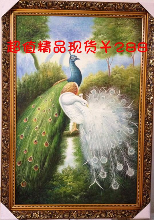 批发 现货纯手绘动物孔雀油画玄关卧室客厅走廊挂画装饰画