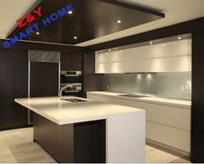 供应整体厨柜定制,卓越智能家具,现代木纹饰面板橱柜