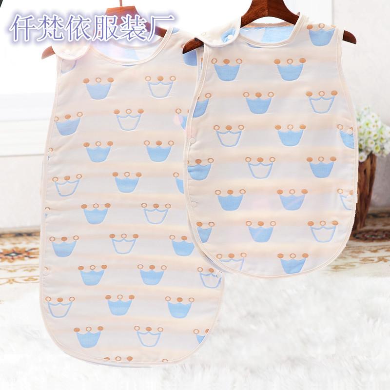 纯棉l4层纱布背心睡袋 宝宝无骨接缝无袖睡袋夏季空调房专用