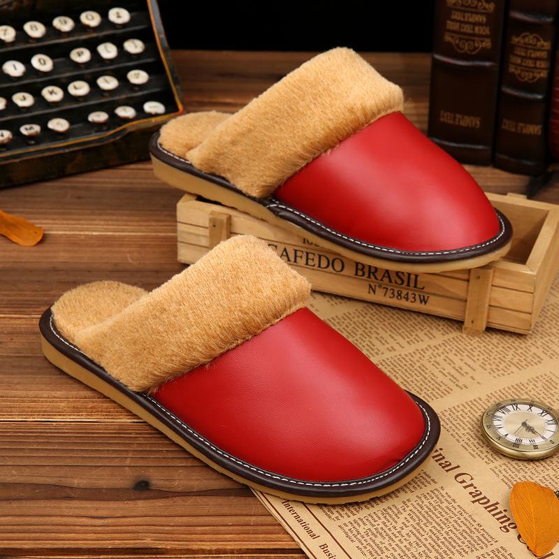 fzt秋冬季新款情侣棉皮拖鞋批发包跟保暖厚底棉拖鞋