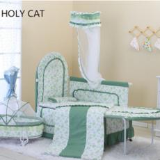 杜氏童车 HOLYCAT 摇篮式豪华布艺婴儿床 赠送床品四件套DC-9001