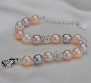 糖果色天然淡水米形珍珠手链 高档韩版水晶饰品