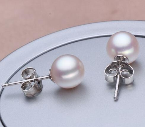 珍珠耳钉珠宝级正圆亮泽S925纯银珍珠耳环