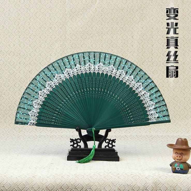 *40方蝴蝶骨蕾丝印花真丝扇子日式折扇竹制品工艺品扇古风扇子女