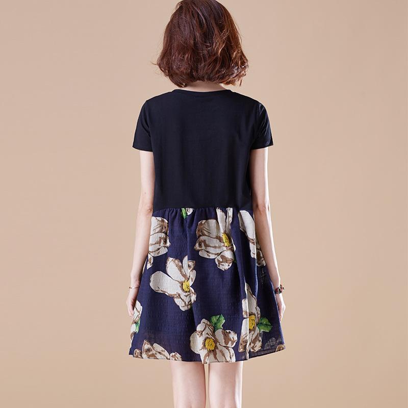 女士裙子棉麻料綿綢夏天棉綢連衣裙30寬松胖mm大碼女裝中長款圖片