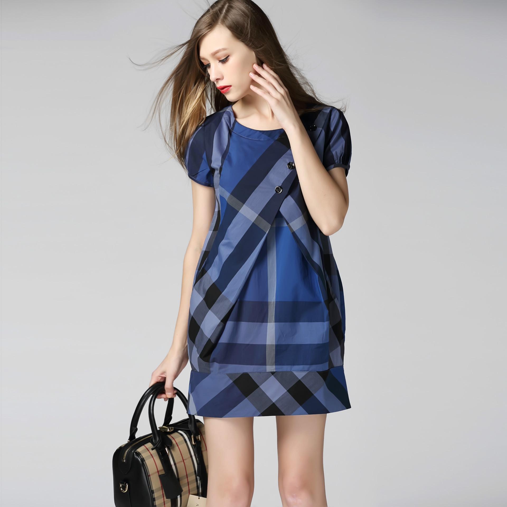 夏装新款 大牌同款短袖格子连衣裙纯棉宽松大码 深圳高端外贸女装