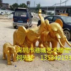 玻璃钢雕塑定制 仿真动物 大型仿真动物 玻璃钢大象雕塑定做