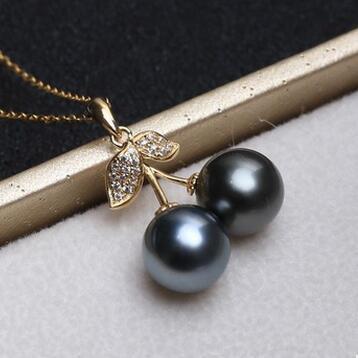 供应 小樱桃长款18K金天然大溪地海水珍珠吊坠正圆黑珠项链