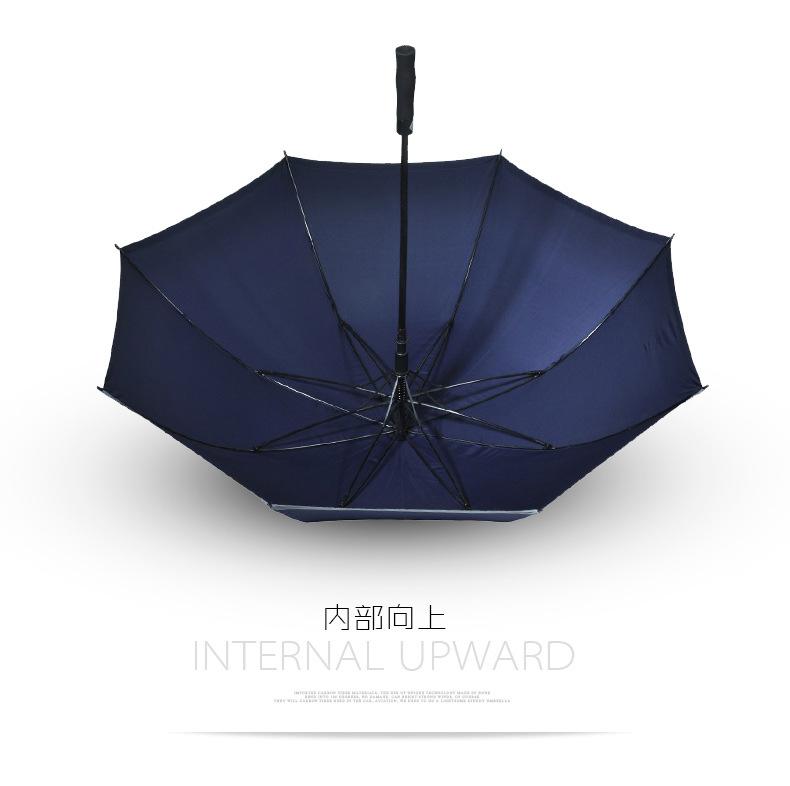 30寸双层高尔夫伞夜间安全反光伞 高尔夫雨伞自动直杆雨伞定制