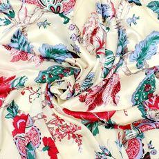 100%桑蚕丝 纯真丝面料 真丝布料素绉缎 服装被套枕套用 芍药花开