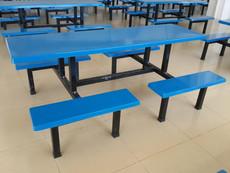 供应厂家促销珠海饭堂餐桌椅经久耐用玻璃钢连体餐桌椅