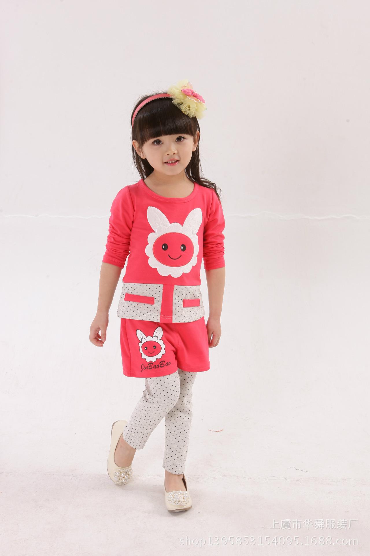 特价供应2015新款春款 女童套装批发 韩版儿童卡通两件套童套装厂家直销