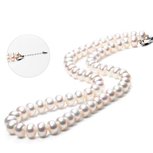 珍珠批发价  珍珠项链 天然淡水珍珠 扁圆白色强光