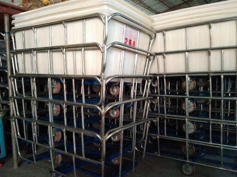 低价畅销:纺织厂通用方形塑料推布车 防腐蚀漂染内胆推布车 四轮运输周转推布车