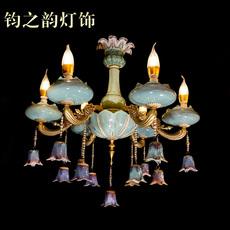 欧式 大气炉钧釉钧瓷吊灯 客厅卧室餐厅一枝梅6头灯饰
