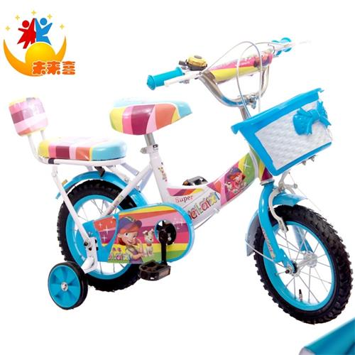 厂家批发高档七彩公主儿童自行车12寸14寸16寸加粗车条