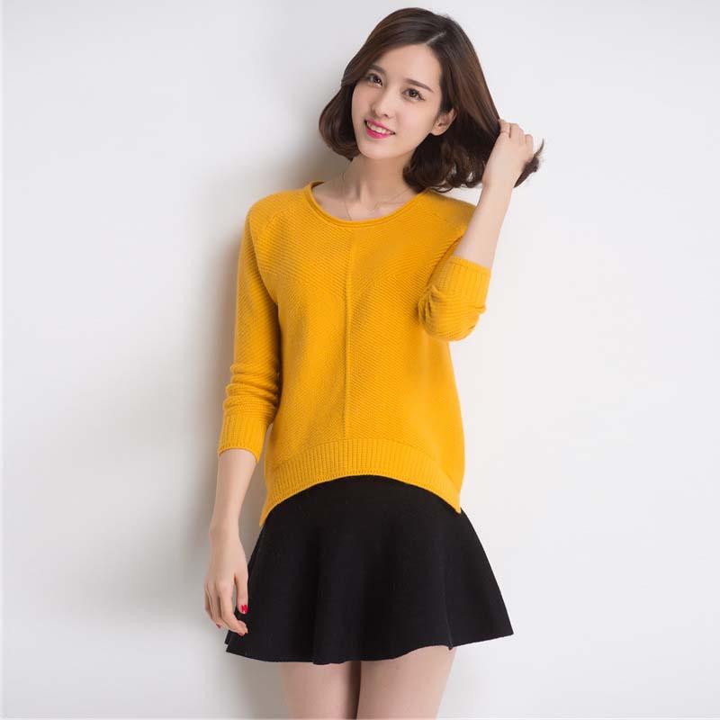 2015秋冬新款女士韩版打底针织衫宽松大码圆领长袖套头毛衣外套女